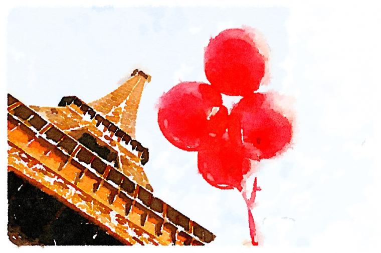 Waterlogue, Julia Willard, red balloon project, Eiffel Tower, Falling Off Bicycles