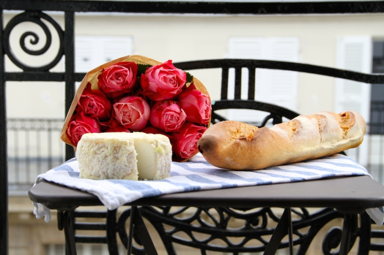 Julia Willard, Julie Willard, Valentine's Day, roses, pink flowers, Paris, France, Paris photography, Paris balcony, baguette, French cheese
