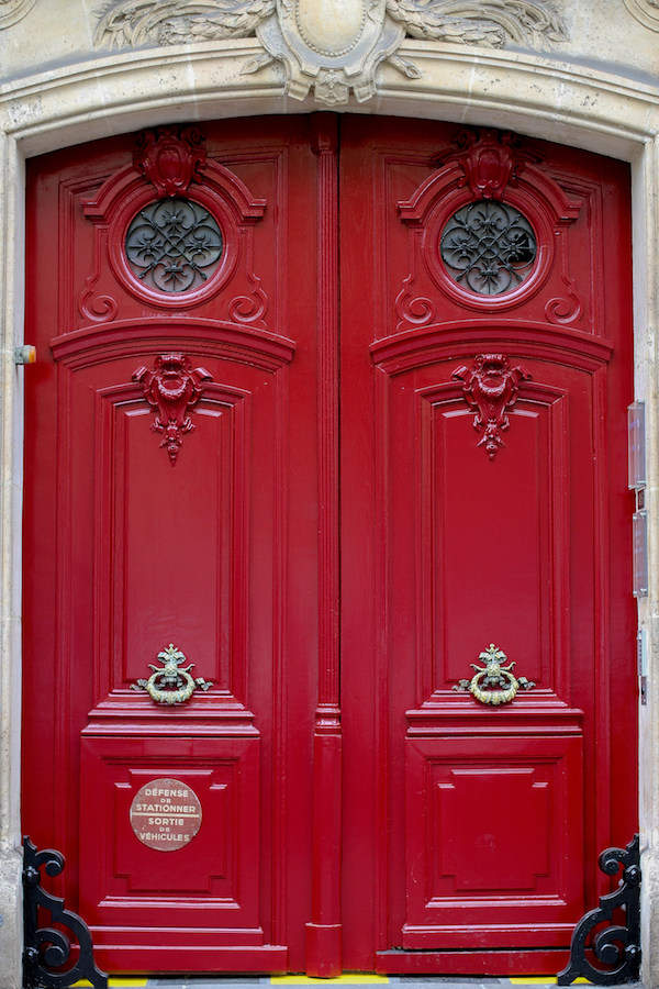 Falling Off Bicycles, Julia Willard, Julie Willard, Valentine's Day, red doors Parisian doors, Paris, France, Paris photography